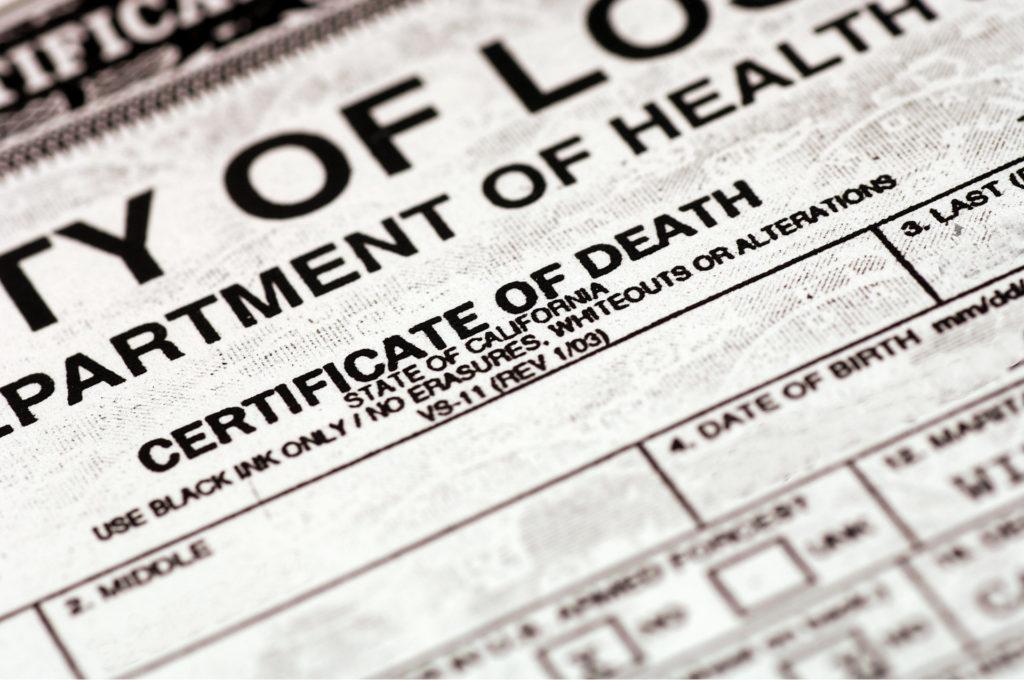 Obținerea certificatului de deces și aplicarea pentru un ajutor financiar
