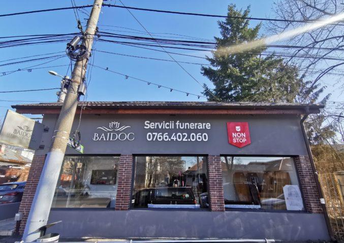 Sediul Baidoc Servicii Funerare sector 6 pe partea dreaptă